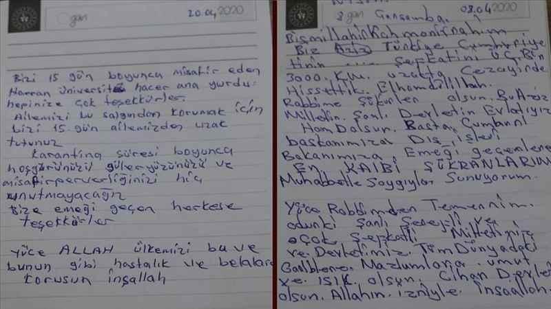 Karantina sürecini tamamlayanlar teşekkür mektupları bıraktı