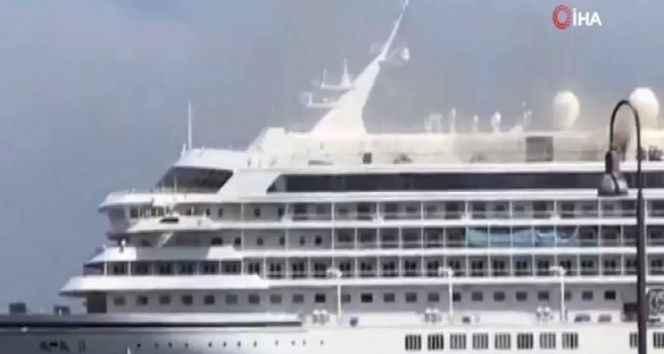 Japonya'daki dev yolcu gemisinde yangın