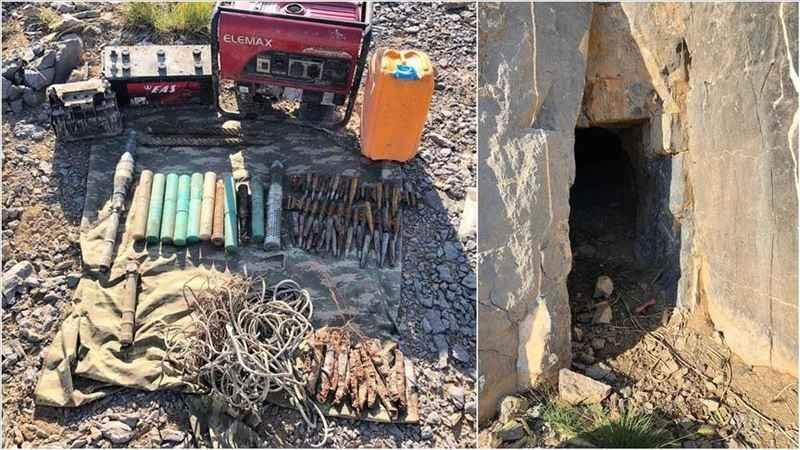 Hakkari'de teröristlerin kullandığı mağarada mühimmat bulundu