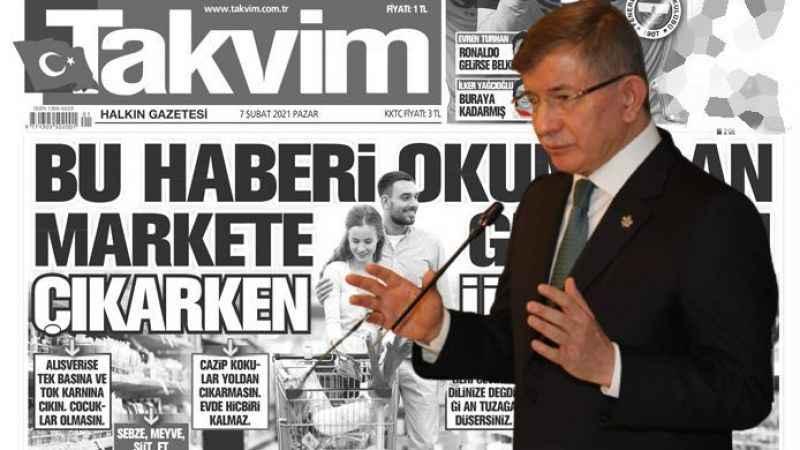 Ahmet Davutoğlu'ndan Takvim gazetesinin market manşetine tepki