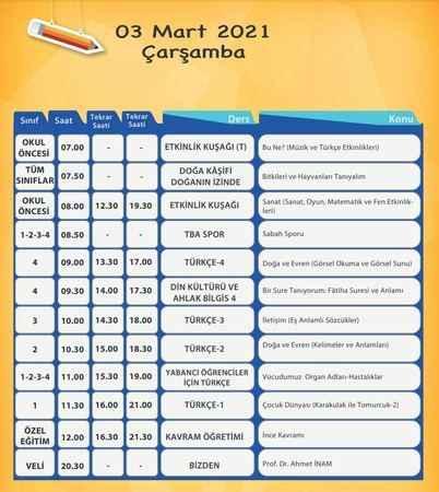 EBA TV'de bugün hangi dersler var? EBA TV 3 Mart 2021 ders programı