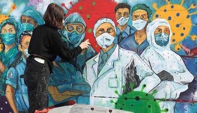 Kartal Belediyesi sağlık çalışanlarını duvara resmetti