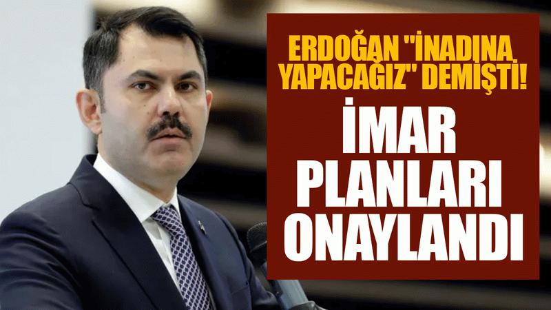 """Erdoğan """"inadına yapacağız"""" demişti! İmar planları onaylandı"""