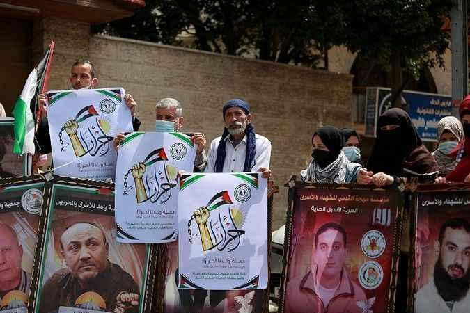 Gazze'de Siyonist İsrail zindanlarındaki Filistinliler için eylem
