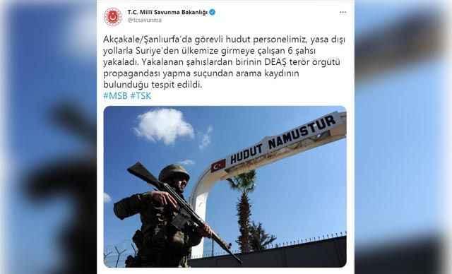 MSB: Ülkeye girmeye çalışan 6 kişi yakalandı