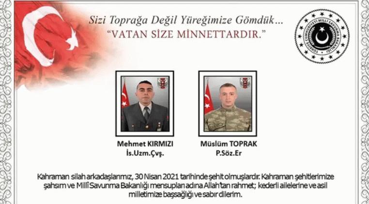 MSB Pençe Yıldırım harekatında iki asker şehit oldu