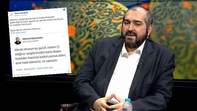 Ateizm Derneği Mehmet Boynukalın'a teşekkür etti