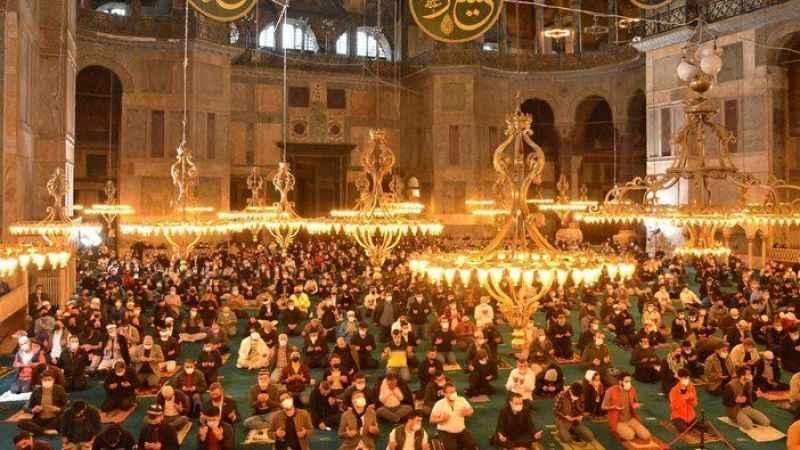 Ayasofya Camii'nde 87 yıl sonra bayram namazı kılındı