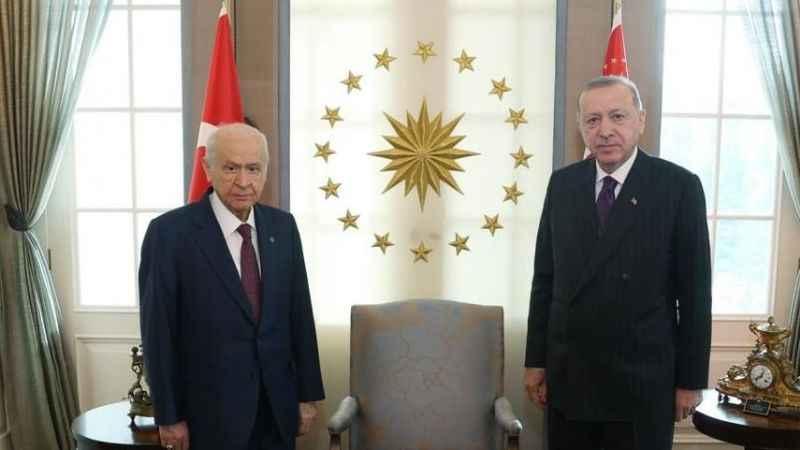 Cumhurbaşkanı Erdoğan, Bahçeli ile Çankaya'da görüştü