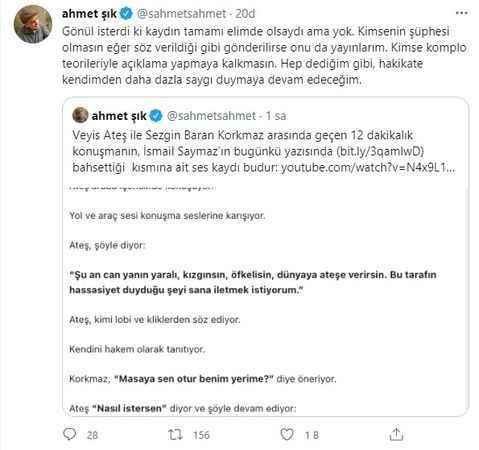 Veyis Ateş'in telefon görüşmesini yayınlayan Ahmet Şık'tan açıklama