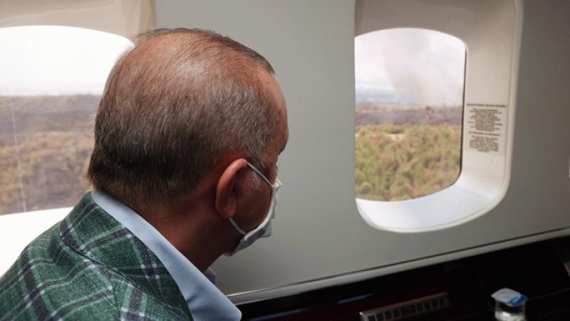Cumhurbaşkanı Erdoğan, iki yangın bölgesine gitti