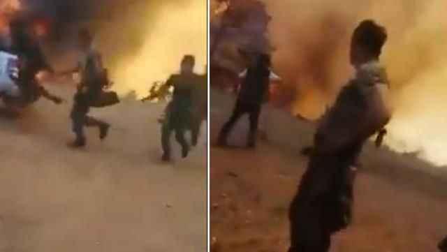 Azerbaycan'dan gelen itfaiyeciler, yangının ortasında kaldı!