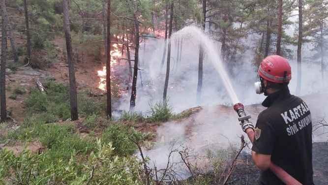 Kartal Belediyesi ekiplerinin orman yangını ile mücadelesi sürüyor