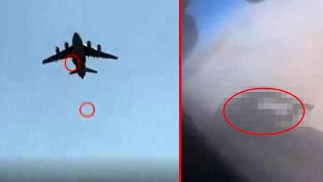Uçağın tekerine asılan Afgan'ın çırpınışları böyle kaydedildi