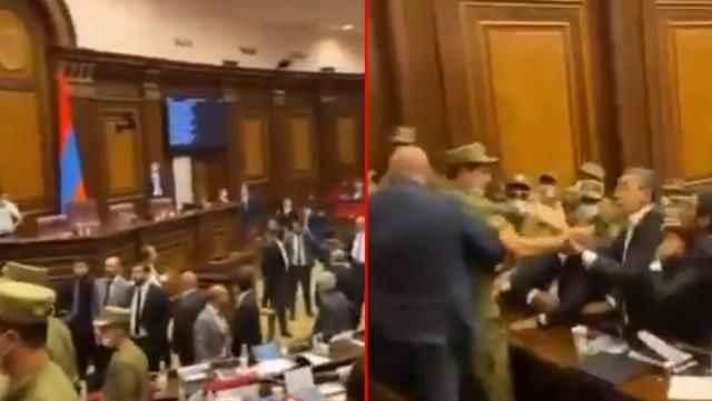 Paşinyan konuştuğu sırada kavga çıktı! Meclis bir anda karıştı