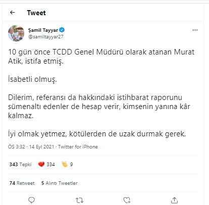 AKP'den TCDD Genel Müdürü Murat Atik'in istifasına ilk yorum