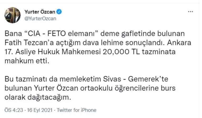 Fatih Tezcan'a açılan davada flaş gelişme