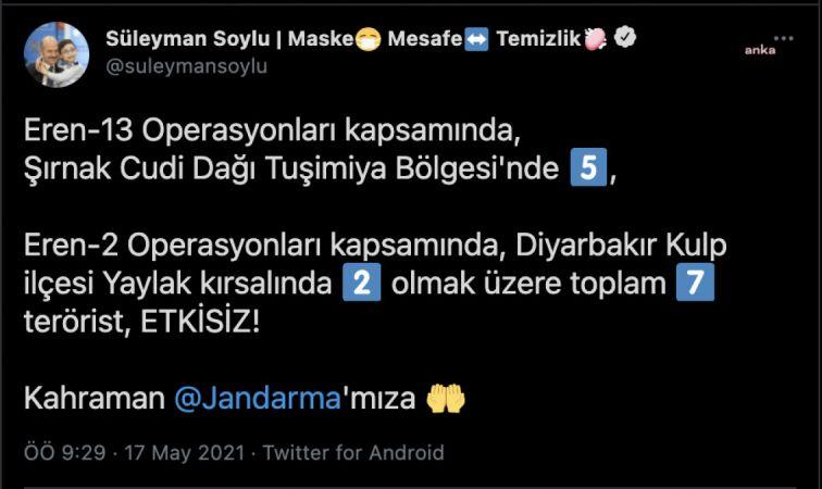 """İÇİŞLERİ BAKANI SOYLU: """"7 TERÖRİST ETKİSİZ"""""""