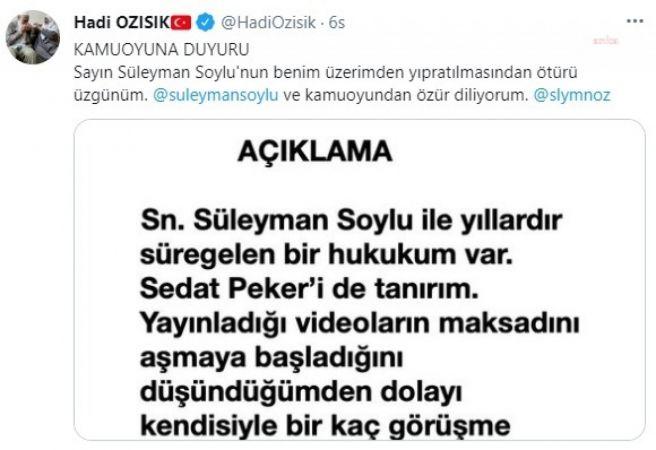 """HADİ ÖZIŞIK'TAN AÇIKLAMA: """"GÖRÜŞMELERDEN SOYLU'NUN BİLGİSİ YOKTU. SORUMLULUK ŞAHSIMA AİTTİR"""""""