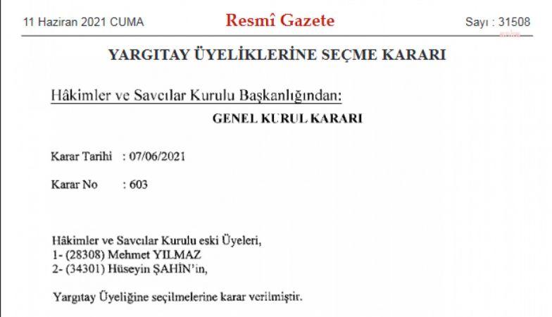 İKİ HSK ÜYESİ YARGITAY'A SEÇİLDİ