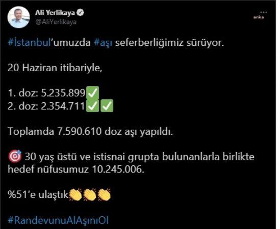 VALİ YERLİKAYA: İSTANBUL'DA 7 MİLYON 590 BİN DOZ AŞI YAPILDI