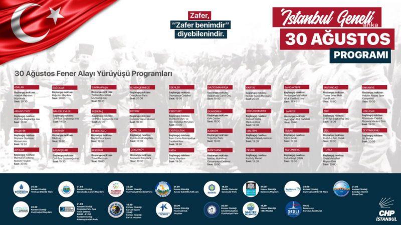 CHP İSTANBUL, 30 AĞUSTOS'U TÜM İLÇELERDE KUTLAYACAK