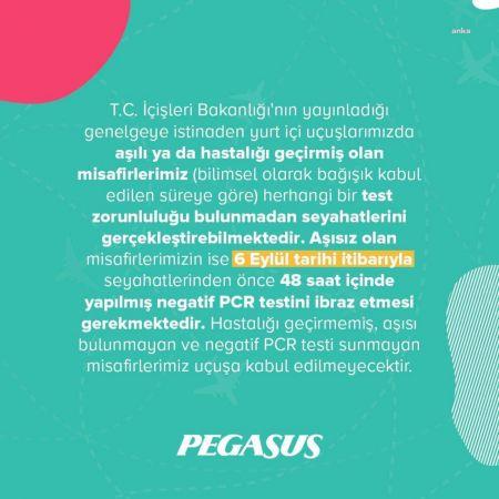 PEGASUS, YURT İÇİ UÇUŞLARDA PCR TESTİ İSTEYECEK