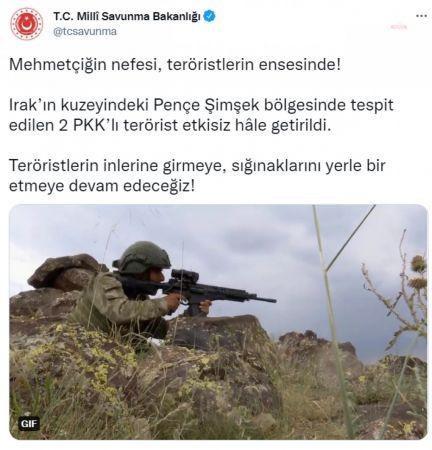 MSB: 2 PKK'LI TERÖRİST ETKİSİZ HALE GETİRİLDİ