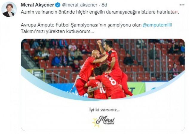 "AKŞENER'DEN AMPUTE FUTBOL MİLLİ TAKIMI'NA: ""İYİ Kİ VARSINIZ"""