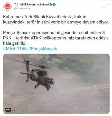 MSB: 3 PKK'LI TERÖRİST ETKİSİZ HALE GETİRİLDİ