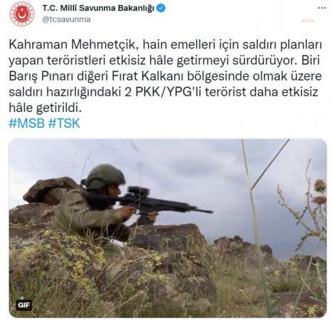 MSB: 2 PKK'LI ETKİSİZ HALE GETİRİLDİ, 3 DEAŞ ÜYESİ YAKALANDI