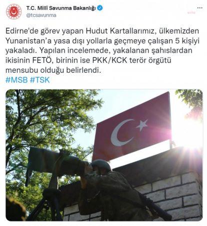 MSB, YUNANİSTAN'A KAÇMAYA ÇALIŞAN 2'Sİ FETÖ, 1'İ PKK ÜYESİ 5 KİŞİNİN YAKALANDIĞINI AÇIKLADI