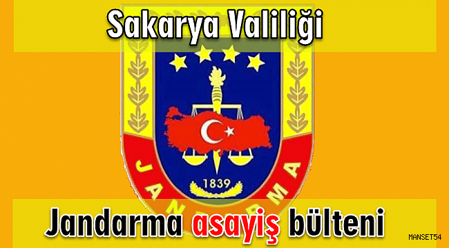 Jandarma Asayiş Bülteni 30 Temmuz - 3 Ağustos 2020