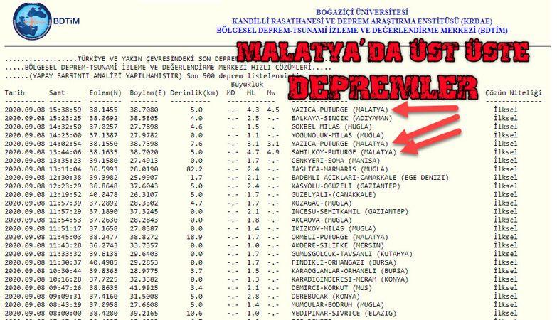 Malatya'da üst üste depremler.