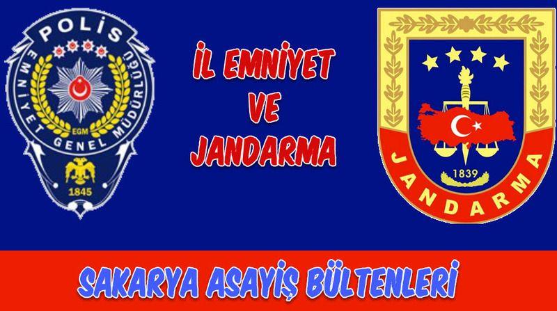 Sakarya Jandarma-Emniyet Asayiş Bültenleri 3,4,5,6,7, 8 Eylül  2020