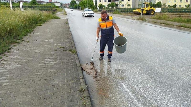 Yoğun yağışa rağmen temizlik durmadı