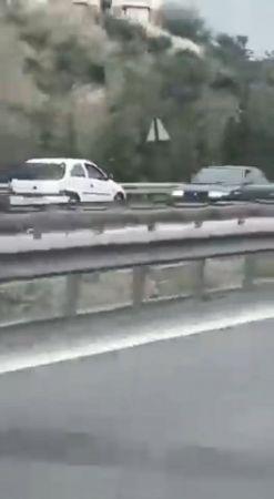 TEM Otoyolu'nda ters yönde hızla ilerleyen otomobil tehlike saçtı
