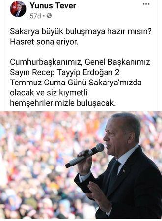 Tever duyurdu Cumhurbaşkanı Tayyip Erdoğan Sakarya'da