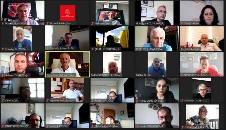 Okul müdürleri ile telekonferans toplantı yapıldı