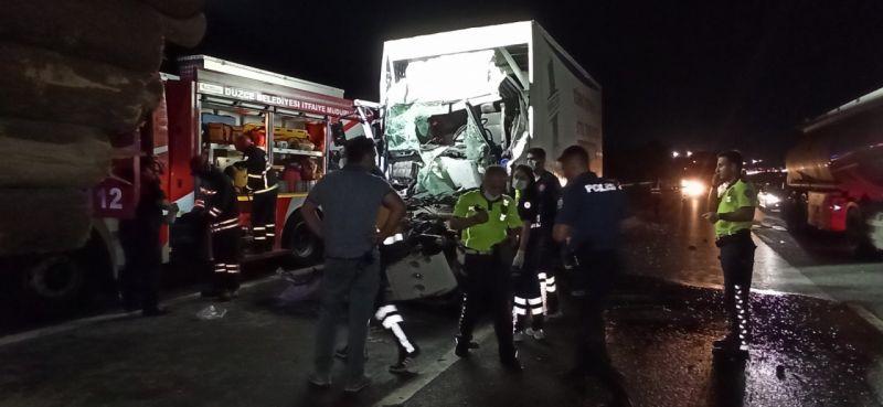 Tomruk yüklü kamyona arkadan çarptı feci şekilde can verdi