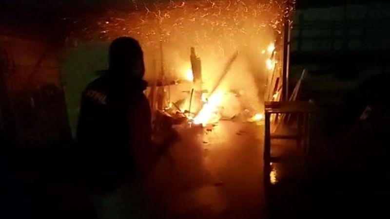 Palet atölyesinde korkutan yangın