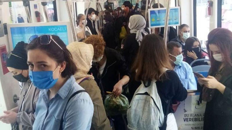 Tramvaylarda korkutan kalabalık
