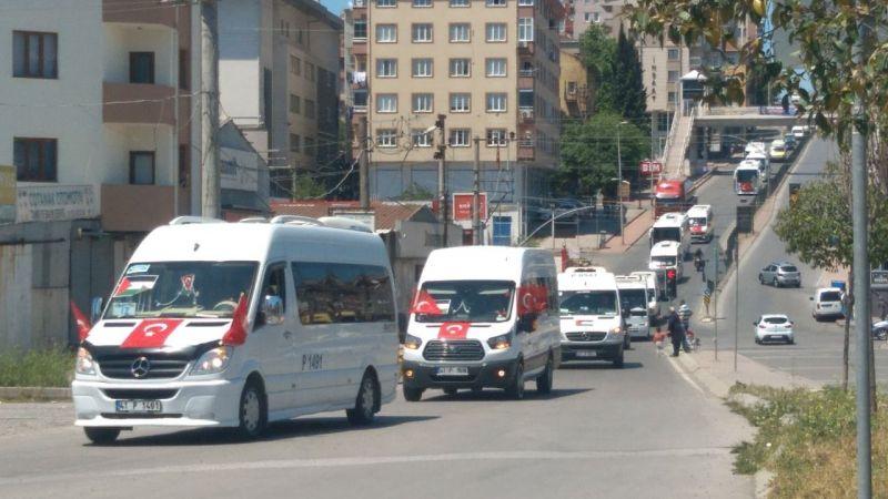 Servisçiler İsrail zulmünü kınamak için konvoy oluşturdu!