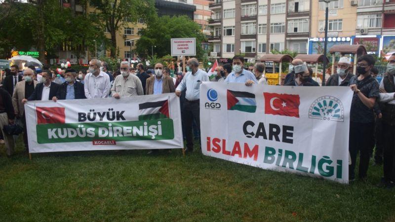 Kocaeli'de İsrail'in Mescid-i Aksa'ya saldırıları protesto edildi