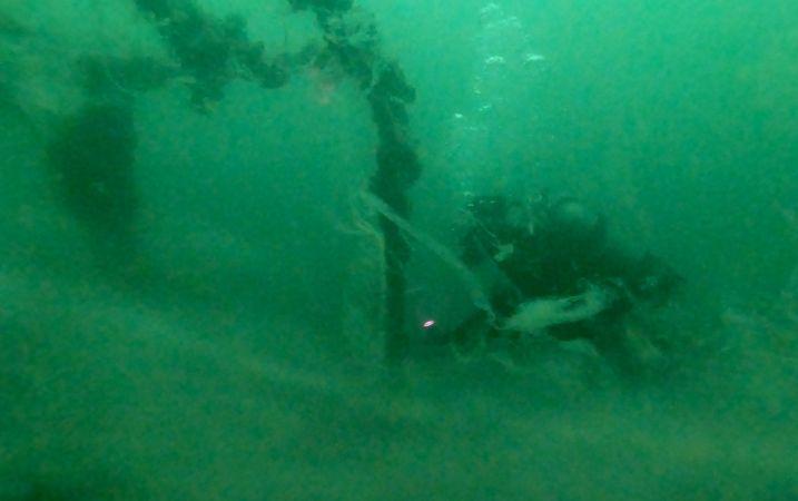 """Su altındaki """"emektar vapur"""" müsilajla kaplandı"""