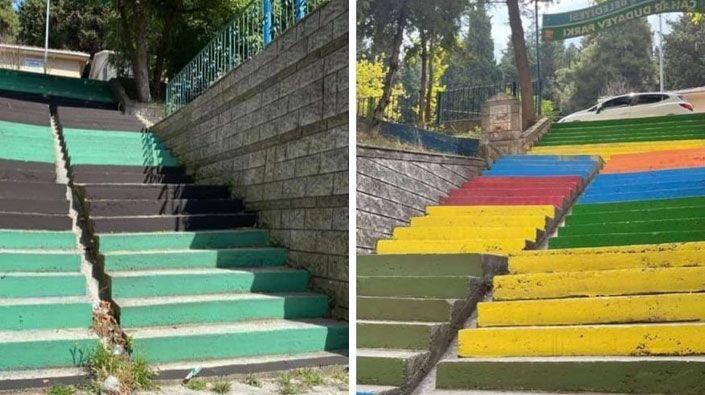 İzmit'in merdivenlerini gençler yeşil siyaha boyuyor!