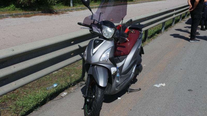 Devrilen motosikletin sürücüsü ölümden döndü!