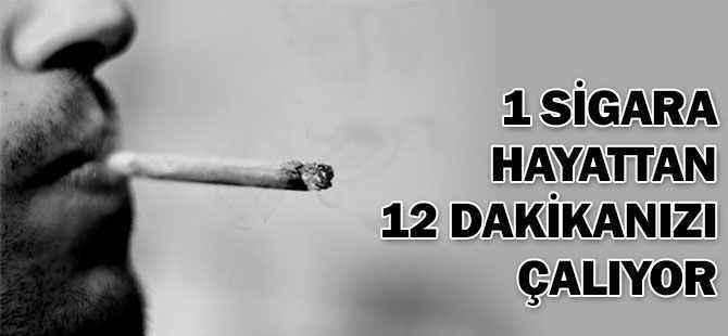 1 sigara hayattan 12 dakika çalıyor