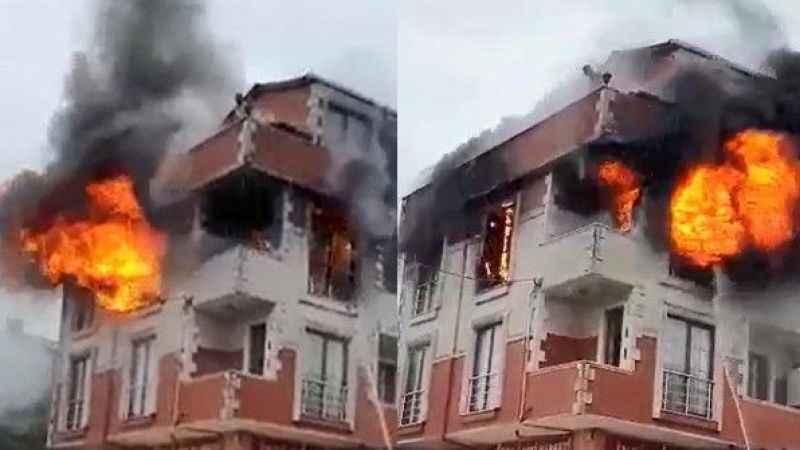 Yangındamahsur kalan 5 kişiyi itfaiye kurtardı