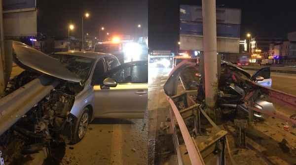 Kocaeli'de otomobil bariyere saplandı: 1 yaralı - Kocaeli Gazetesi